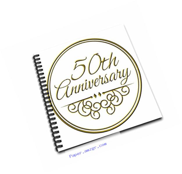 3dRose db_154492_1 50Th Anniversary Gift Gold Text for Celebrating Wedding Anniversaries 50 Years Married Together Drawing Book, 8 by 8-Inch