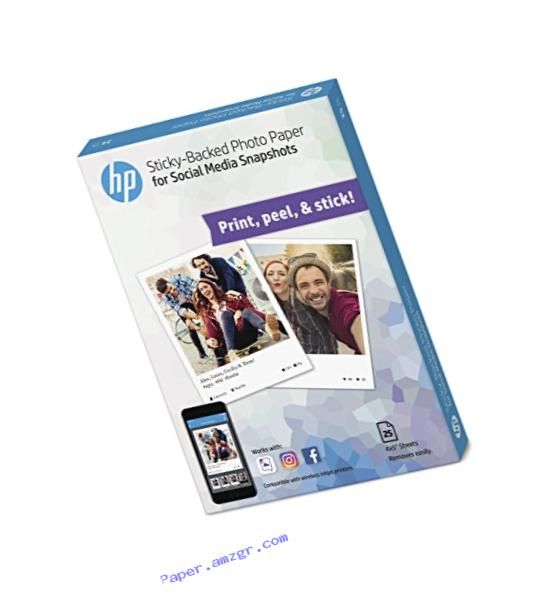HP Photo Paper, Sticky Back Social Media Snapshots, 4x5, 25 Sheets