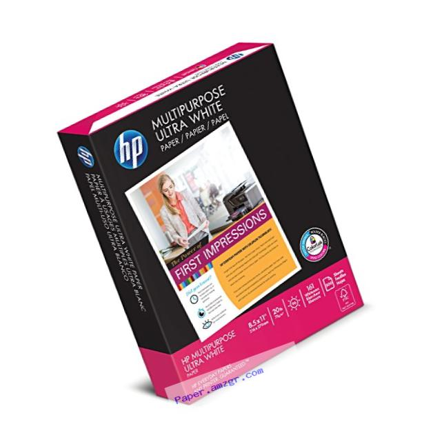 HP Paper, Multipurpose Ultra White, 20lb, 8.5 x 11, Letter, 96 Bright, 500 Sheets / 1 Ream, (112000)