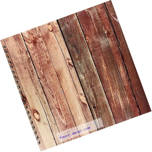 3dRose db_100381_2 Photo of Large Wooden Planks-Memory Book, 12 by 12-Inch